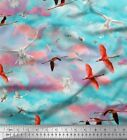 Soimoi Fabric Flying Stork & Dove Bird Printed Craft Fabric bty - BRD-47B