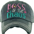 BOSS OF THE CHAOS Womens Factory Distressed Washed Vintage Baseball Hat Cap