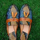 Women Slipper Handmade Loafer Multi Colour Snake Print Casual Calf Leather Shoes