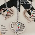Personalised Mum,nan Heart Birthstone Necklace 6 Names Engraved Silver Jewellery