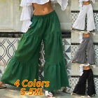 Women Elastic Waist Cotton Wide Leg Layered Flare Pants Baggy Culottes Trousers