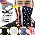 Neck Gaiter FILTER Tube Bandana Scarf Face Mask Balaclava Multi-use Protection