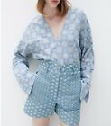 ZARA GREEN SWING FLOUNCE V NECK DITSY VOLUMINOUS FLORAL FLOWING PRINTED DRESS