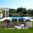 7 Seater Rattan Garden Furniture Set Sofa Table Patio Conservatory Free Cover Uk