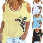 Women Cow Print Cold Shoulder Short Sleeve T-Shirt Tee Summer Casual Blouse Tops