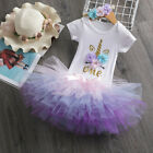 Baby Girl 1st Birthday Unicorn Dress Outfits Set 3pcs Cake Smash Dress Sets