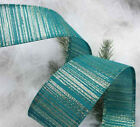 1m x 35mm Wide Wired Christmas Ribbon Teal Turquoise Champagne Gold lame Sparkle