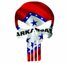 Skull State Of Arkansas Cut Out Vinyl Car Window Bumper Flag Decal Various Sizes
