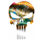 Skull State Of Florida Cut Out Vinyl Window Bumper Flag Decal Various Sizes