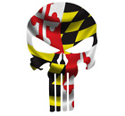 Skull State Of Maryland Cut Out Vinyl Window Bumper Flag Decal Various Sizes