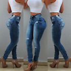 Women Casual High Waist Ripped Denim Skinny Stretch Jeans Slim Trousers Pants