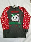 Well Worn Holiday Sweater Girls Meow Christmas Cat Kitty Ugly Sweater 14-16 XL