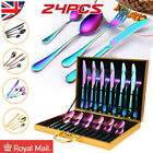 24pcs Rainbow Cutlery Sets Stainless Steel Colorful Iridescent Forks Spoon Knife