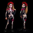 Halloween Cosplay Bodysuit Kids/Women Skeleton Fancy Party Costume Jumpsuit