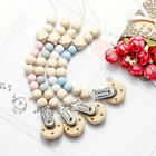 Wooden Baby Pacifier Clip Chain Holder Nipple Leash Strap Pacifier Soother CA