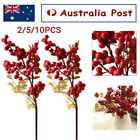 2/5/10x Christmas Red Fruit Berry Artificial Flower Home Tree Decor Wedding