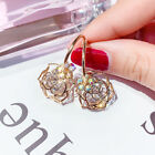 Gold Plated Crystal Earrings Women's Rose Dangles Made With Swarovski Crystals