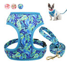 Floral Pet Dog Walking Vest Harness and Lead Yorkie Jack Russell Beagle Bulldog