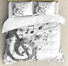 Ambesonne Music Duvet Cover Set, Music with G-Clef Key Instrument Monochrome Cre