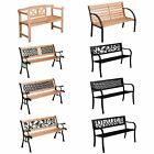 Garden 2/3 Seater Outdoor Classic Wooden Metal Patio Furniture Slatted Large New