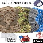 4 PACK Neck Gaiter with FILTER Bandana Breathable Scarf Headband for ADULT & KID