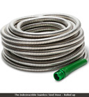 Weather Resistant Stainless Steel Watering Hose w Fire Nozzle Outdoor 50' or 100