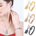 Fashion Concentric Lock Key Bracelet Necklace Steel Stainless Jewelry New Gift ~