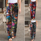Womens Abstract Print Casual Pants Vintage Wide Legs Loose Long Lounge Trousers