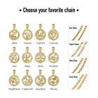 Gold Plated Zodiac Sign Constellation Pendant Necklace Unisex w/ Free Chain 18""