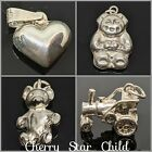 Sterling 925 Silver Pendant Charm Tractor Heart Teddy Bear Child