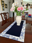 Waverly Bordered Blue & White Toile Rectangle Table Runner by ThemeRunners
