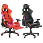 Gaming Chair Recliner Racing Chair W/RGB LED Lights Swivel Seat Leather Office