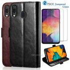For Samsung Galaxy A20 A30 Flip Leather Wallet Case Cover Stand /Tempered Glass
