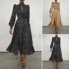 Women Long Sleeve Turtleneck Keyhole Ladies Party Ball Prom Maxi Shirt Dress NEW