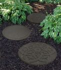 Large Stepping Stone Garden Pathway Recycled Rubber Reversible Scroll Grey