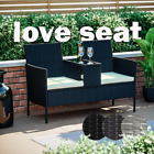 Rattan Garden Love Seat Bench 2 Seater Twin Chair With Glass Table Patio Vienna