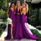 Bridesmaid Dresses Women Long High Split Backless Wedding Guest Party Gown