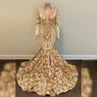 Sequined Roses Flowers Mermaid Prom Evening Shower Party Dress Pageant Gown New