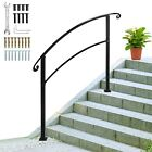 Iron Handrail for 1-5 Steps Stair Railing Hand Rail Kit Fit Black Outdoor Deck