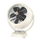 Vfan Jr. 6.4 in Small Vintage Whole Room Air Circulator Desk Fan, Vintage White
