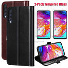For Samsung Galaxy A70 Wallet Leather Flip Stand Case Cover With Tempered Glass