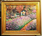 "MONET JARDIN DE GIVERNY GARDEN REPRO 24"" HAND PAINTED OIL PAINTING ART FM178"