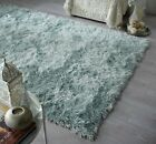 DAZZLE THICK SILKY SHINY SHIMMER SOFT SHAGGY RUG IN DUCK EGG BLUE
