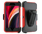 For iPhone 8 7 Hybrid Hard Heavy Duty Rugged Bumper Shockproof Case Red/Black