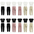 Kids Girls Sports Outfits Crop Top Elastic Waistband Cargo Trousers Casual Suit