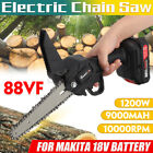 Cordless Electric Chain Saw 1200W Wood Cutter One-Hand Saw Woodworking W/Battery