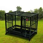 Portable Dog Cage Crate Heavy Duty Kennel Metal Playpen Pet Wheels Tray