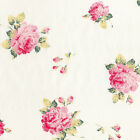 COTTON CLOTHES FABRIC VINTAGE SHABBY ROSE FLORAL PINK