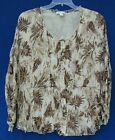 Coldwater Creek Copper Leaves Foil Print Peasant Blouse