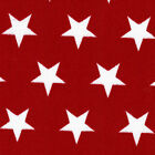 POLYCOTTON CLOTHES DRESS SHIRTS COSTUME PLAY FABRIC 1/2 INCH STAR RED BLACK 44'W